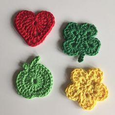 Hartje Little heart Appel Apple Klavertje vier Four of clover Bloempje Flower Haken Crochet