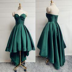 Dark Green High Low Prom Dress Party Dress