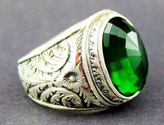 Sterling Silver 925 men ring ,ethnic design with emerald lab stone .