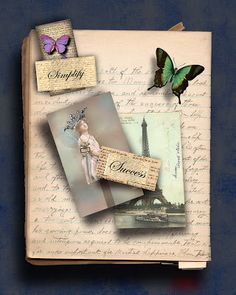 Printable Vintage Papers: Decoupage a Table Top with a Vintage Note Book