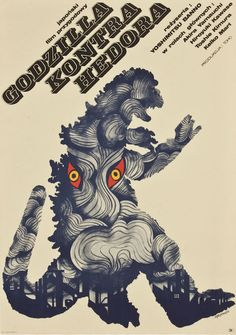 Poster vintage de godzilla  a través del Mundo