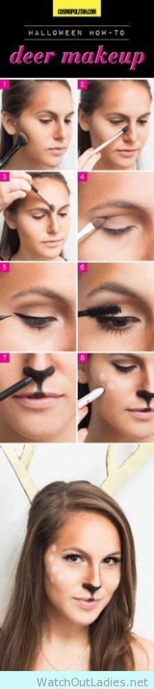 Cute deer tutorial make up for halloween party - http://watchoutladies.net/cute-animal-make-up-tutorial-for-halloween/