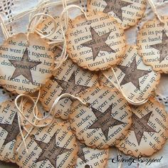 Star and Book Pages Hang Tags- Vintage Inspired, Repurposed, Upcycled, Scalloped