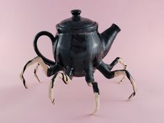 "Halloween inspired sculpture curiosities , spider teapot "" by (white stoneware, Spider Legs, Black Spider, Goth Home, Gothic Home Decor, Gothic House, Weird, Sculptures, Creatures, Pottery"