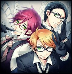 Grell Sutcliff, William T. Spears, and Ronald Knox from the anime Black Butler/Kuroshitsuji | #anime #manga