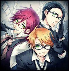 Grell Sutcliff, William T. Spears, and Ronald Knox from the anime Black Butler/Kuroshitsuji | #anime #manga