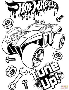Hot Wheels Tune Up Coloring Pages Printable - Coloring For Kids 2019 Monster Truck Coloring Pages, Race Car Coloring Pages, Disney Coloring Pages, Coloring Pages To Print, Free Printable Coloring Pages, Colouring Pages, Adult Coloring Pages, Coloring Pages For Kids, Coloring Books