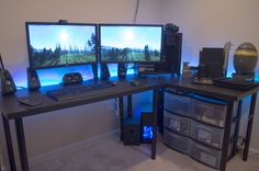 Quad PC battlestation - via Reddit.com/r/battlestations