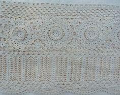 "Bedskirts King: Cheap King Handmade Crochet Lace Bedskirt 14"" Drop, Ivory, 8"" Corchet Band"