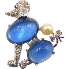 Vintage Jomaz Rhinestone Blue Glass Cabochon Poodle Brooch -- found at www.rubylane.com #vintagebeginshere #mondayblues