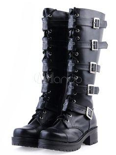 Bottes de lolita noires à talons épais avec boucles - Milanoo.com