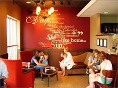 rustic coffee shop decor - Google Search on the short wall, maybe with scripture or a song?