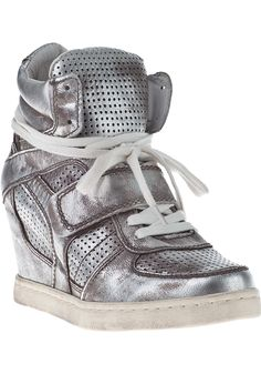 Ash Cool-Ter Wedge Sneakers Silver Leather - Jildor Shoes, Since 1949