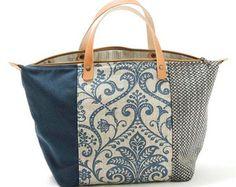 Borsa di Lisbona, borsetta floreale Twill, lino, ciniglia, Denim, blu, avorio. Chiusura lampo, doppi manici in pelle naturale