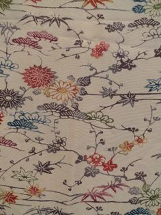 Vintage Japanese Screen Dyed Flowers and Pines