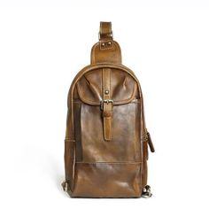 Handmade Chest Bag, Vintage Full Grain Leather Backpack, Men's Leather Sling Shoulder Bag 14132 Model...