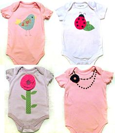 sweet girly onesies -- and easy to make! #DIY