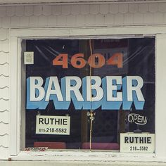 #BARBER #Ruthie #handpainted #handlettered #handpaintedtype #signage #sign #type #typejunkie #typography #typecollector #windowtype