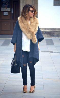694f9c20c7 Rebeca oversize – Zara Camisa y jean – Zara Estola de piel – Zara Bolso –