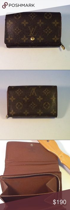 Authentic Louis Vuitton Billet Tresor Brown Wallet Leather showed light wearing. The canvas is good. The wallet was made in France with a date code SP 1024. The dimension is 5.5, 4 and 1. Louis Vuitton Accessories