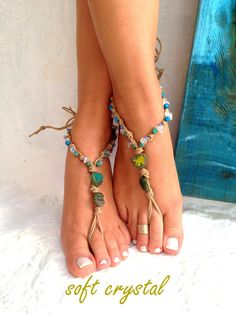 Beaded PEACOCK Feather BAREFOOT sandals Toe Thongs Woodland Garden