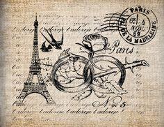 Antique French Paris France Bird Valentine Love Digital Download for Tea Towels, Papercrafts, Transfer, Pillows, etc No 5653. $1,00, via Etsy.