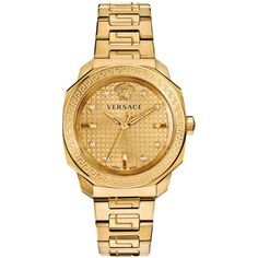 Versace Women's Swiss Dylos Diamond Accent Gold Ion-Plated Stainless Steel Bracelet watch 35mm VQD060015 featuring polyvore, fashion, jewelry, watches, no color, stainless steel jewellery, versace, gold stainless steel watches, gold watches and yellow gold jewelry