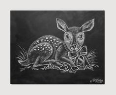 Fawn Illustration Woodland Deer Chalkboard Art by LilyandVal