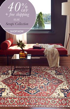 Deal of the day: 40% off + Free Shipping on Serapi rugs ! Hurry up, it ends tonight. use the code:SERAPI40FB