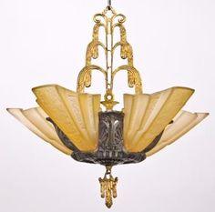 c. 1930's five light art deco style slip shade ceiling fixture w/ fountain motif
