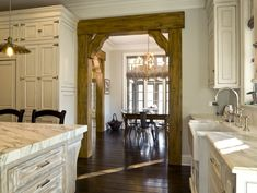 What a beautiful combination of Traditional, Rustic and Elegant home design! Light Wood Beams Design Ideas, Pictures, Remodel, and Decor - page 3 Home Design, Küchen Design, Design Ideas, Rustic Doors, Barn Doors, Rustic Barn, Entrance Doors, Rustic Entry, Rustic Office