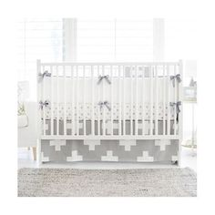New Arrivals Gray Swiss Cross 3 Piece Crib Bedding Set