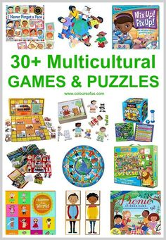 30+ Multicultural Games & Puzzles featuring children and families from all over the world; African, Asian, Hispanic, Native American ethnicities