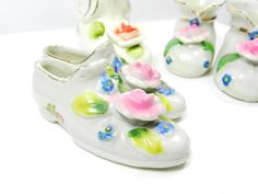 Miniature Glass Shoes Vintage Collectible's 1940 Ceramic Shoes, Glass Ceramic, Glass Shoes, Walk This Way, Glass Slipper, Vintage Shoes, Shoe Collection, Shoe Boots, Baby Shoes
