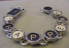 Typewriter Key Bracelet  SHIFT HAPPENS  Black and cream Glass Typewriter key Jewelry