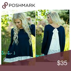 Gorgeous blue lace tunic. This is such a gorgeous long sleeve blue lace tunic with bow detail on back.  Perfect for this season!! BOUTIQUE Tops Tunics