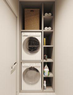 Kasiopeya on Behance Modern Laundry Rooms, Laundry Room Layouts, Laundry Room Organization, Laundry In Bathroom, Small Utility Room, Utility Room Storage, Utility Room Designs, Laundry Room Design, Home Room Design