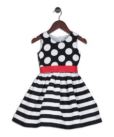 Look at this Joe-Ella Black & Off-White Stripe A-Line Dress - Toddler & Girls on #zulily today!