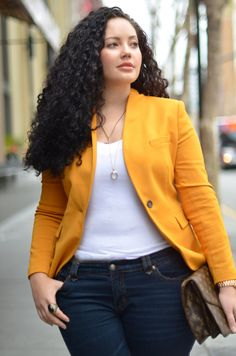 Jeans + T-Shirt + Blazer. Seems to work every time. Doesn't hurt that this is a yellow blazer.
