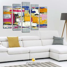 """""""Colors"""" 95x70 cm kanvas tablo modelimiz ile renkli odalar tasarlıyoruz.. #yeniürün #kanvastablo #art #tasarım"""