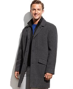 Marc New York Holt Wool-Blend Contrast-Bib Herringbone Walking Coat