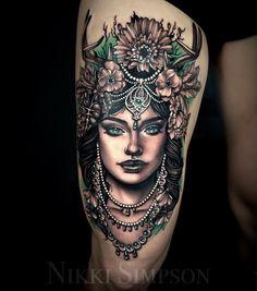"When a client says ""do whatever you want"" creates this It took her 6 hours to еще via Gem Tattoo, Color Tattoo, Medusa Tattoo, Pretty Tattoos For Women, Beautiful Tattoos, Beautiful Artwork, Head Tattoos, Sleeve Tattoos, Tatoos"