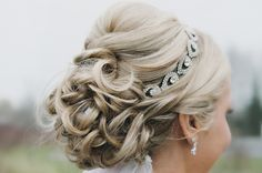 Crystal bridal headband with curled updo...would like half up and curly