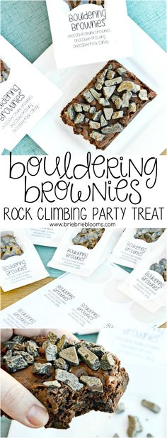 Make these fun bouldering brownies topped with chocolate rocks for your next rock climbing party treat. Package with the free printable label.