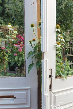 this is a view from a potting shed, but I think it would be lovely to create a secret garden made with old doors and windows between creeping bloomers along a fence...