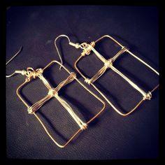 Framed Cross Earrings by jenniferfarrar on Etsy, $16.95