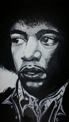 Black and white Hendrix portrait. Painted onto hardboard using acrylics. Jimi Hendrix Black and White bold acrylic Realistic Drawings, Lovers Art, Black And White Painting, Painting, Art, Life Art, Portrait Painting, Canvas Painting Tutorials, Portrait Acrylic