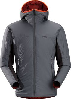 Arcteryx Aphix Hoody,   Materials  Coreloft™ 80 gm/m² insulation  Helius™—100% polyester 112 g/m². A lightweight, breathable, stretchy, plain knit textile with a moisture wicking finish to promote evaporation.  Colibri™—40D nylon, lightweight, wind resistant mini ripstop taffeta with DWR coating  Technical Features  Breathable  Insulated  Compressible and packable  Wind resistant