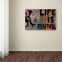 "'Life is Beautiful' by Banksy Ready to Hang Canvas Wall Art (30""x47""),"