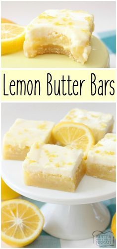Triple layer Lemon Bars with a bright, buttery flavor! Easy to make lemon dessert that everyone enjoys! #Lemon #Dessert #recipe from Butter With A Side of Bread #lemonbars #Spring #easter